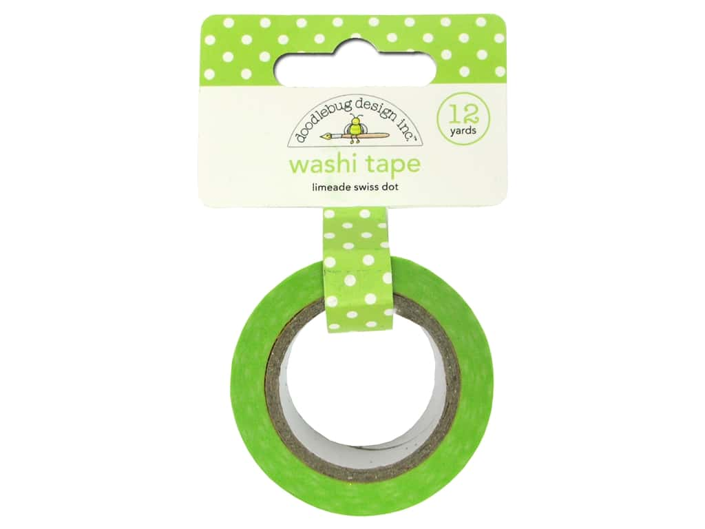 Doodlebug Washi Tape 5/8 in. x 12 yd. Swiss Dot Limeade