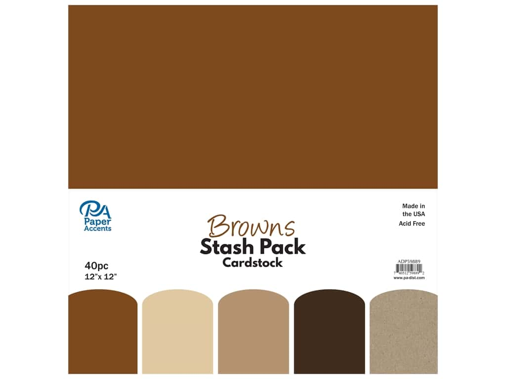 Paper Accents Cardstock Stash Pack 12 x 12 in. Browns 40 pc.