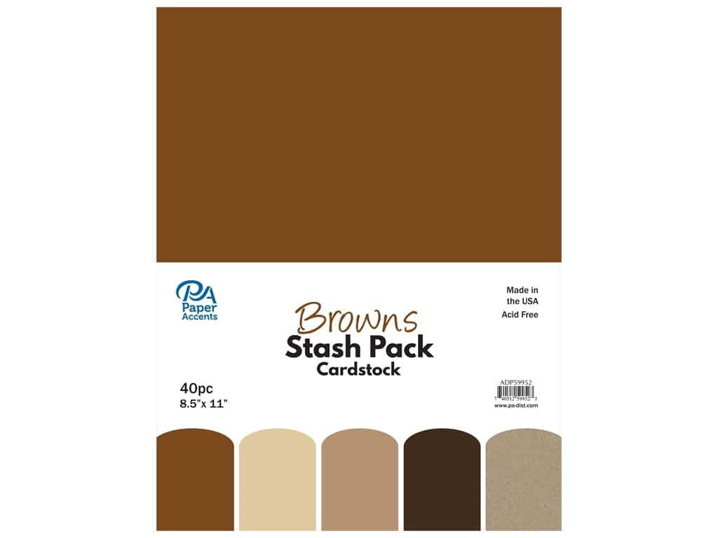 Paper Accents Cardstock Stash Pack 8 1/2 x 11 in. Browns 40 pc.