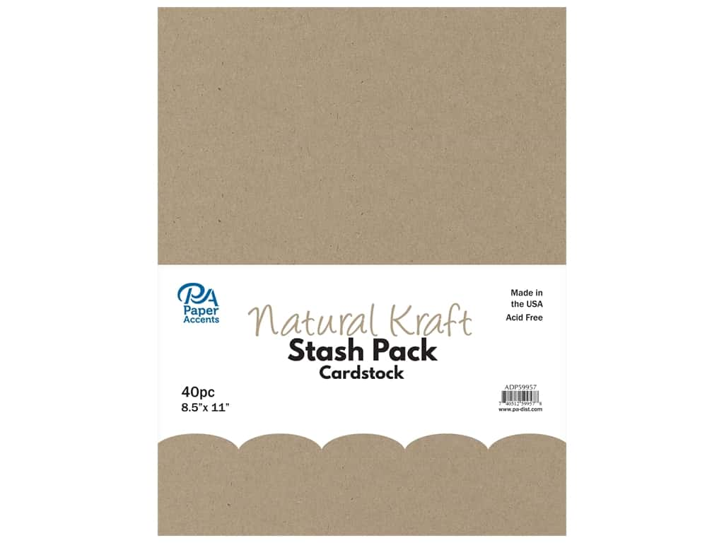 Paper Accents Cardstock Stash Pack 8 1/2 x 11 in. Natural Kraft 40 pc.