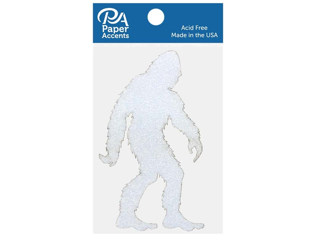 Paper Accents Glitter Shapes Yeti White 4 pc