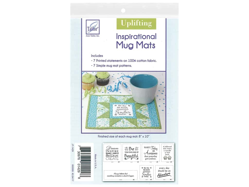 June Tailor Kit Inspirational Mug Mat Cotton Panel Uplifting