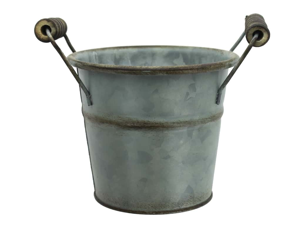 Sierra Pacific Decor Metal Pail 6 in. x 4 in. Galvanized Silver
