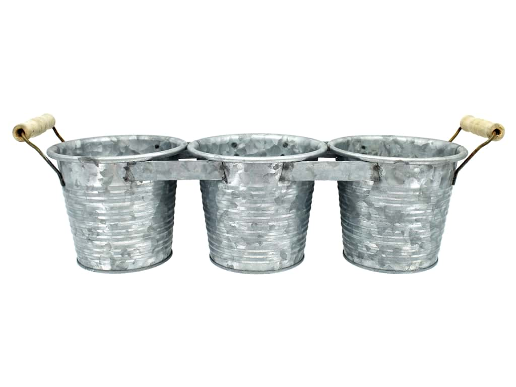 Sierra Pacific Decor Pot With Wood Handle 15.5 in. x 4 in. x 4.5 in. Galvanized