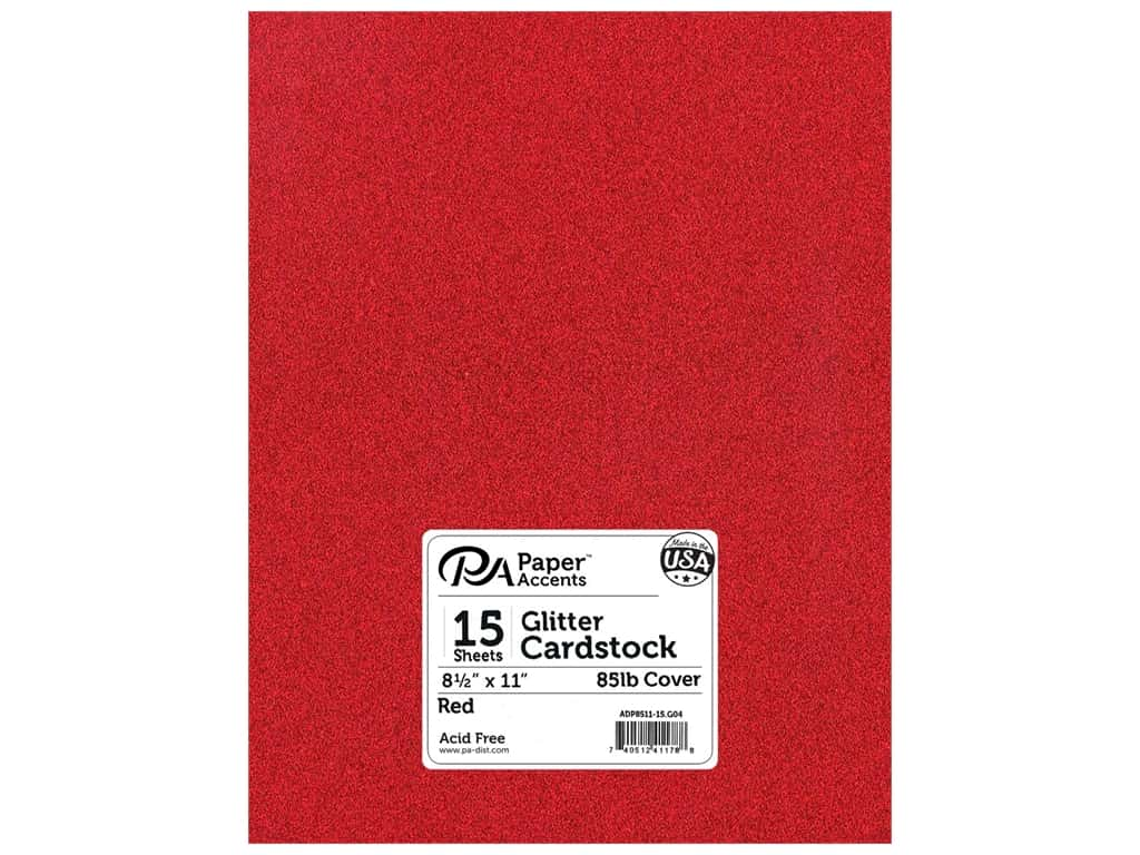 Paper Accents Glitter Cardstock 8 1/2 x 11 in. #G04 Red 15 pc.