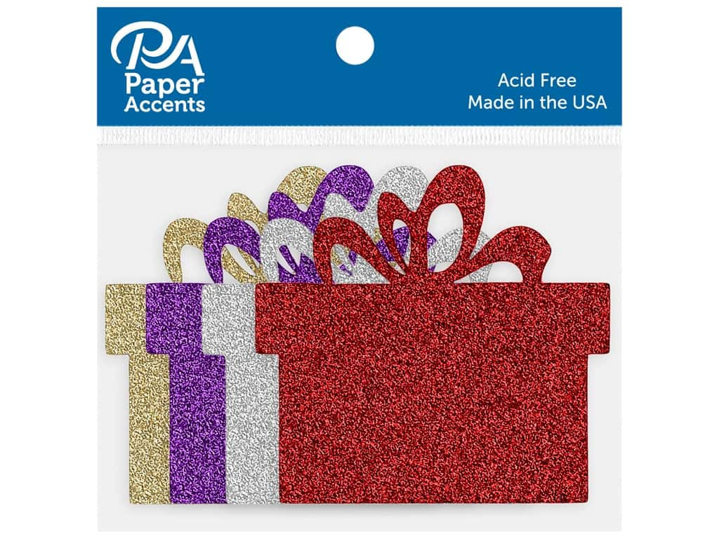 Paper Accents Glitter Shapes Present Red, Silver, Light Gold, Grape 8 pc