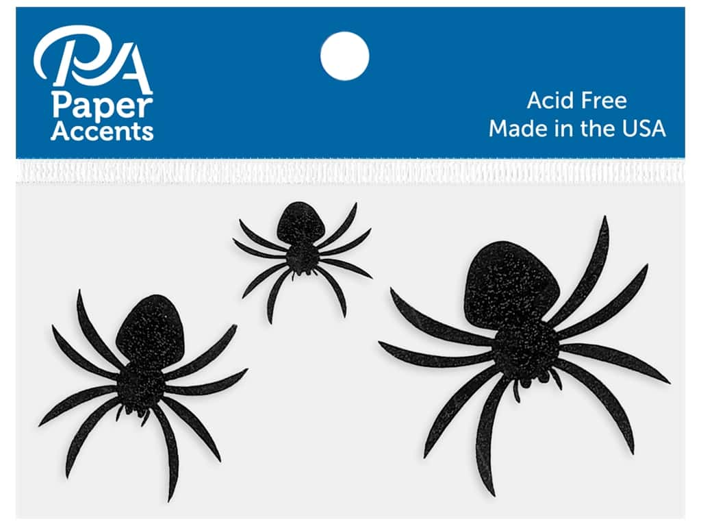 Paper Accents Cardstock Shape Glitter Spiders Black 10  pc