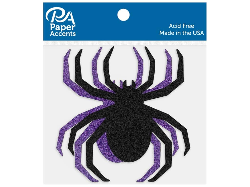 Paper Accents Cardstock Shape Glitter Spider Black & Grape 8 pc