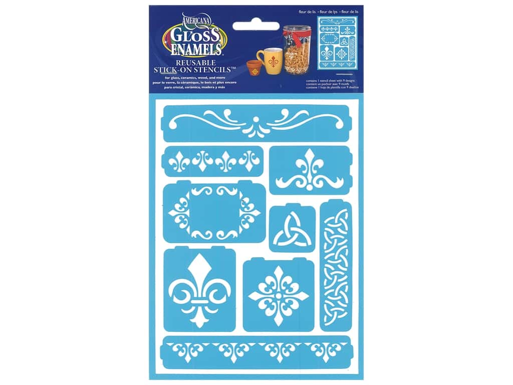 DecoArt Americana Gloss Enamels Stick-On Stencils 6 x 8 in. Fleur de lis