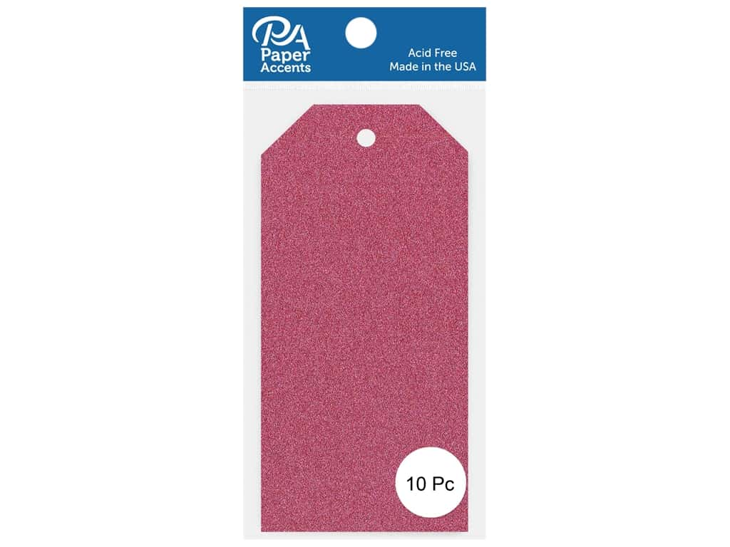 Paper Accents Craft Tags 2 1/2 x 5 1/4 in. 10 pc. Glitter Rose