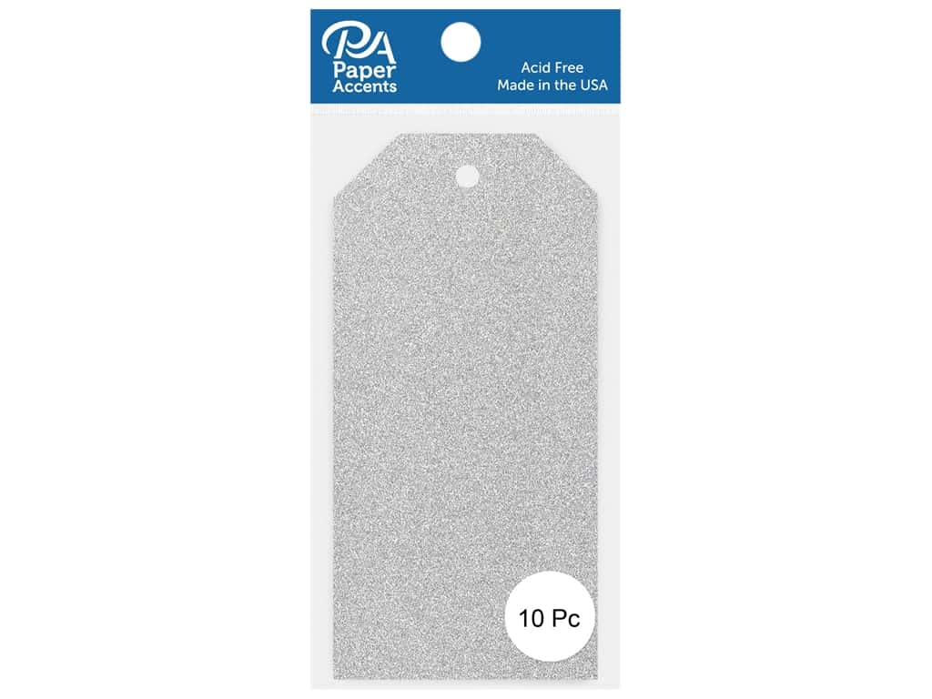 Paper Accents Craft Tags 2 1/2 x 5 1/4 in. 10 pc. Glitter Silver