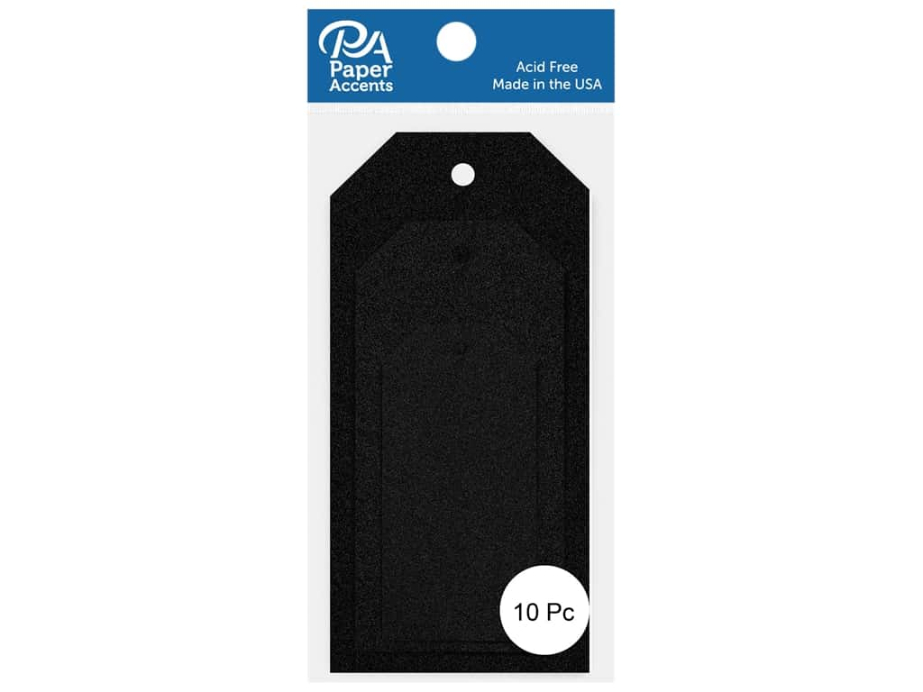 Paper Accents Craft Tags Assorted Sizes 10 pc. Glitter Black