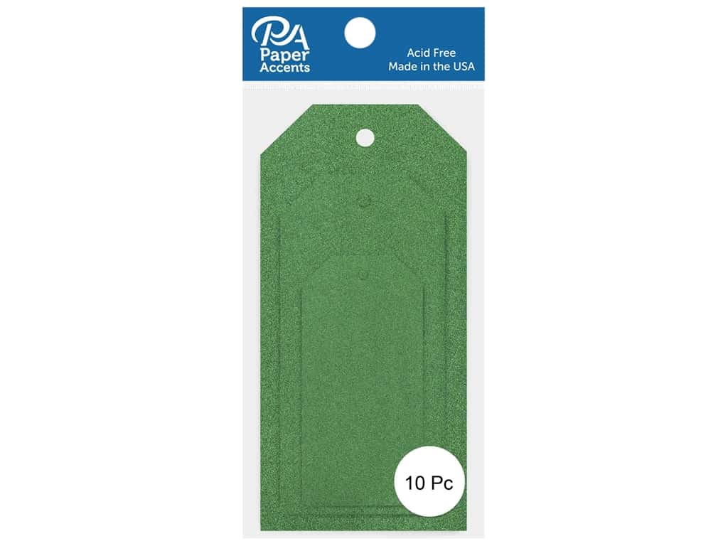 Paper Accents Craft Tags Assorted Sizes 10 pc. Glitter Green