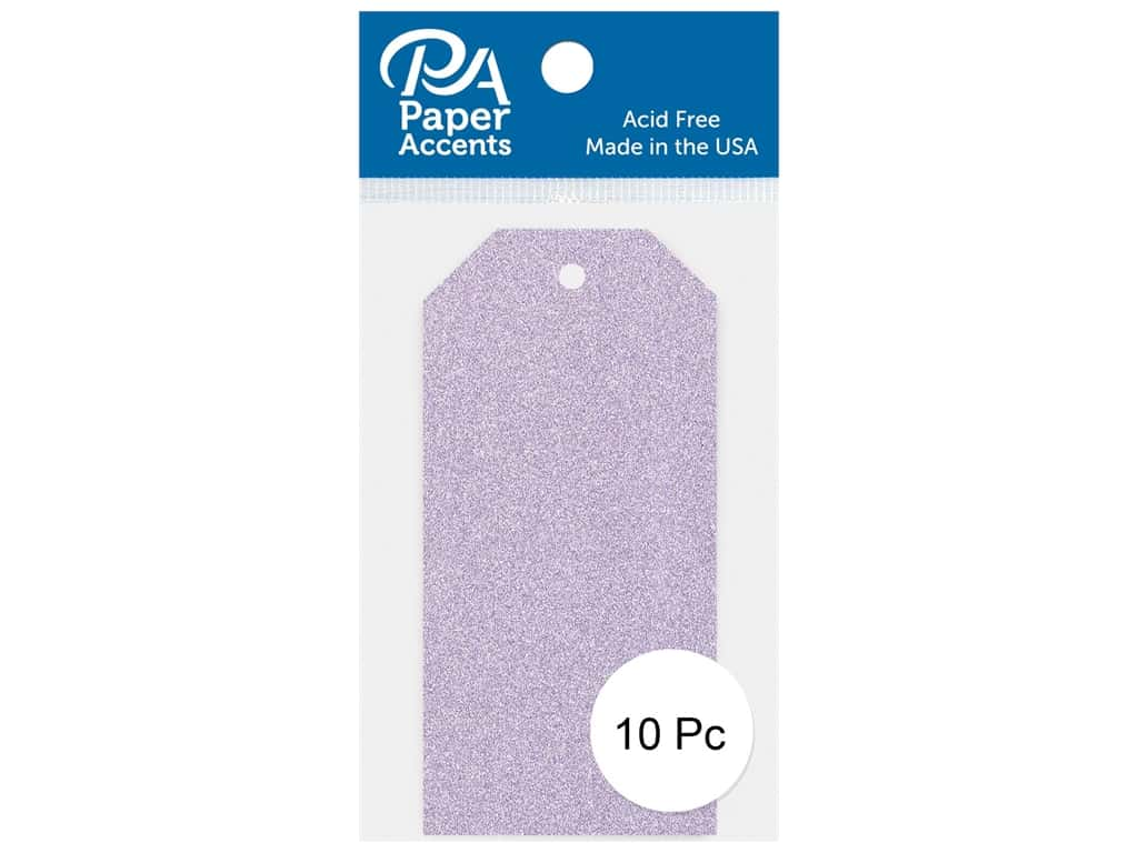 Paper Accents Craft Tags 1 5/8 x 3 1/4 in. 10 pc. Glitter Lavender