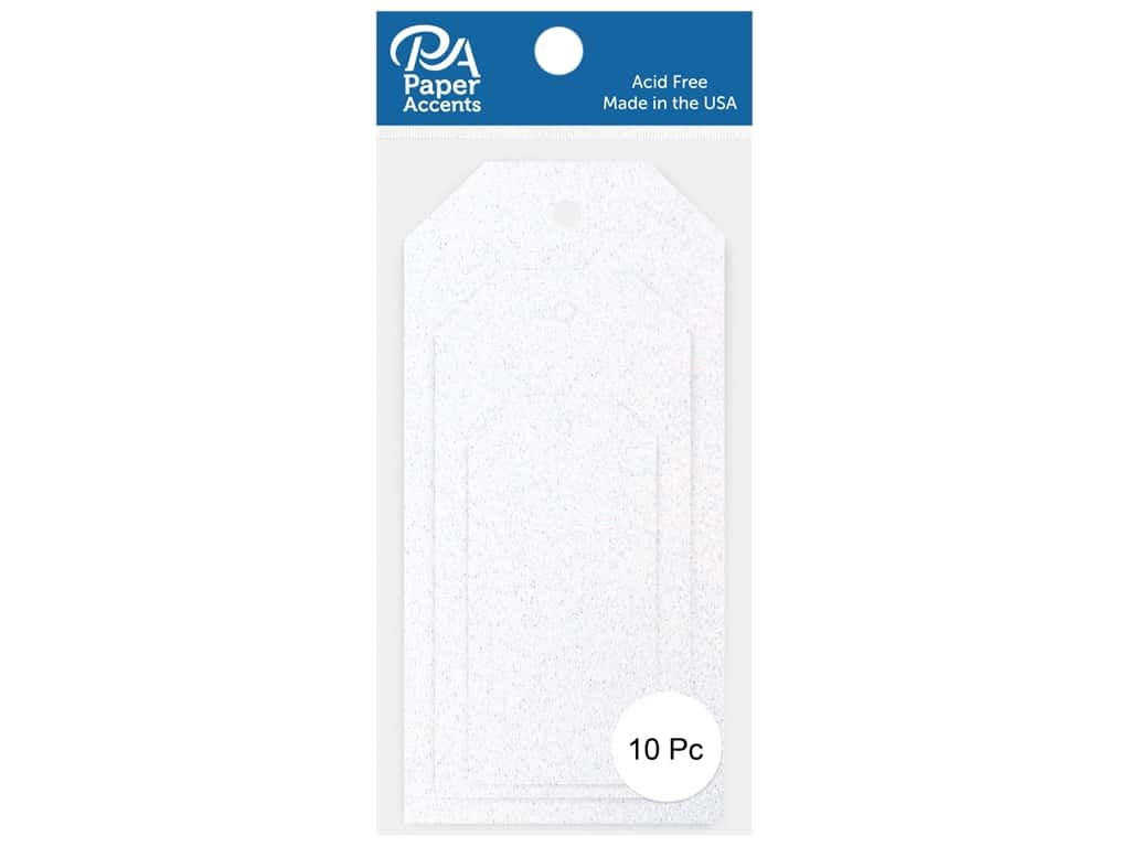 Paper Accents Craft Tags Assorted Sizes 10 pc. Glitter White
