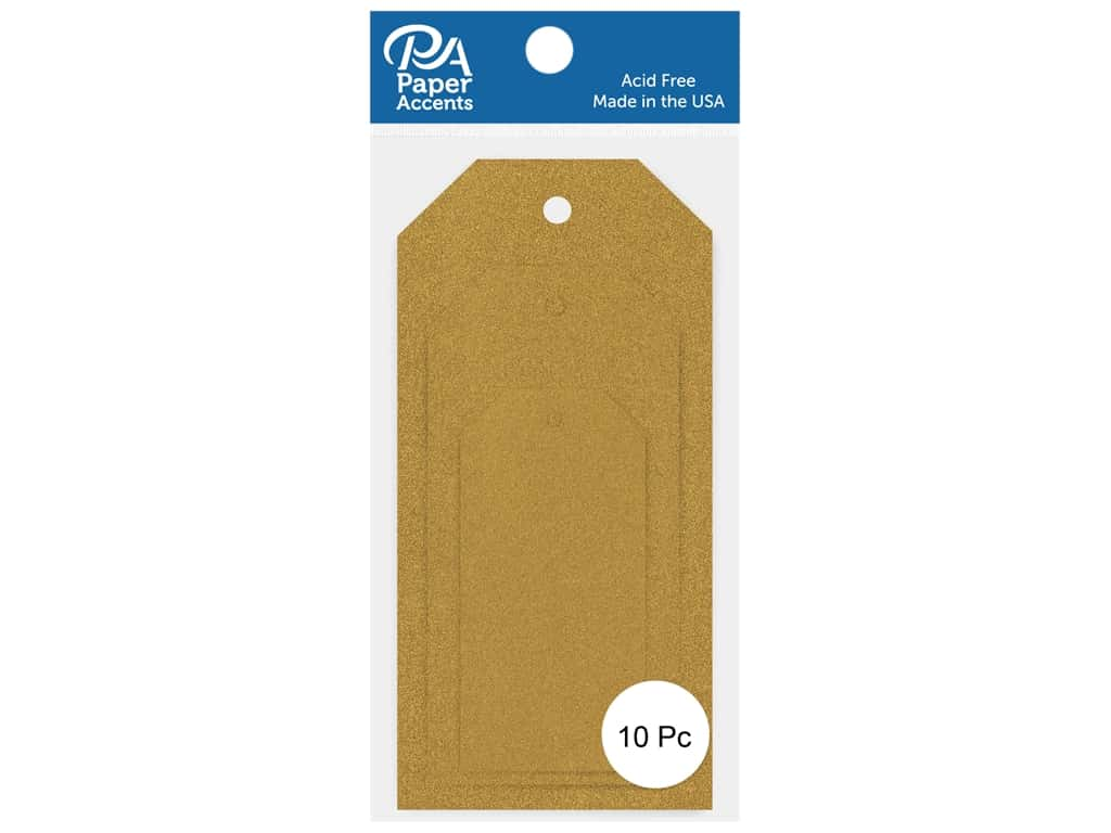 Paper Accents Craft Tags Assorted Sizes 10 pc. Glitter Gold