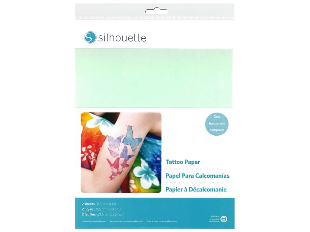 Silhouette Temporary Tattoo Paper 8 1/2 x 11 in. Clear