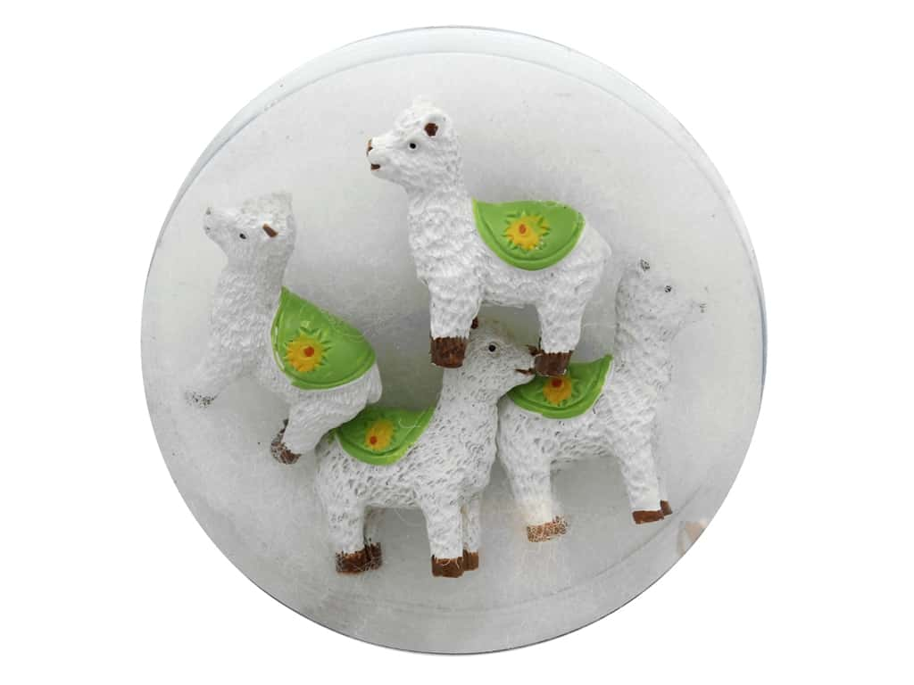 Sierra Pacific Resin Llamas With Blanket White/Green 4 pc