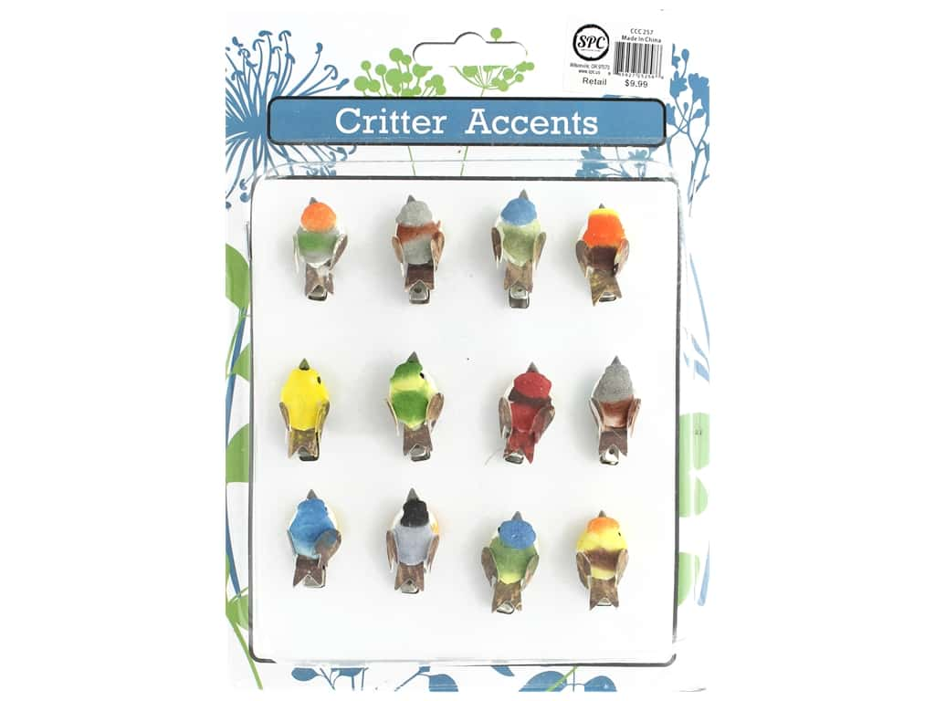 Sierra Pacific Birds Mini With Clip 1.5 in. Assorted 12 pc