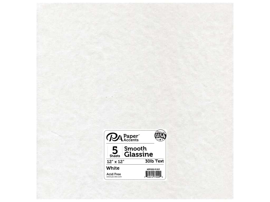 Glassine Paper 12 x 12 in. by Paper Accents White 5 pc.