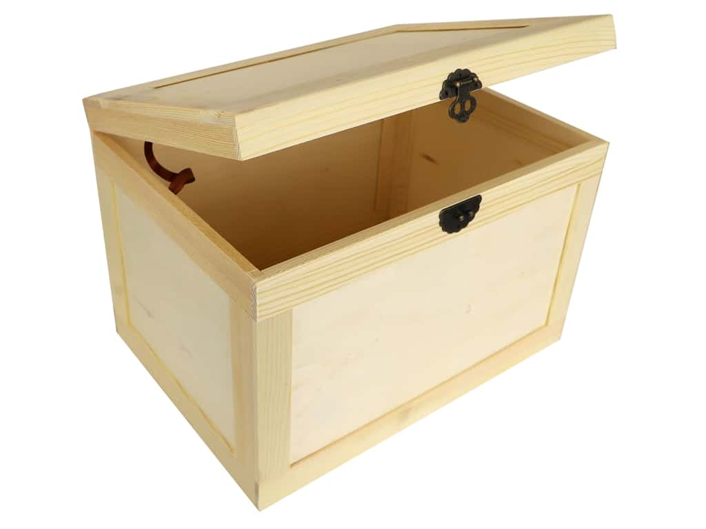 Sierra Pacific Crafts Wood Wood Box Trunk Unfinished 13 in. x 9.5 in. x 9 in.