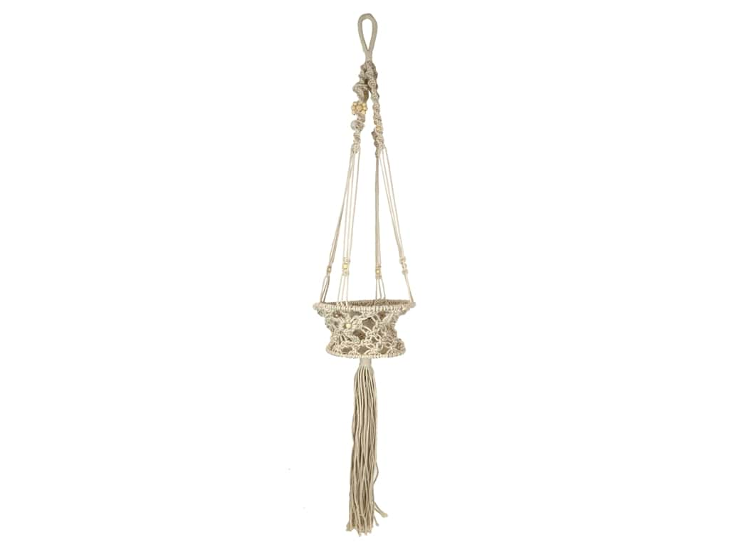 Sierra Pacific Macrame Plant Holder With Beads 8 in. x 43 in. Natural