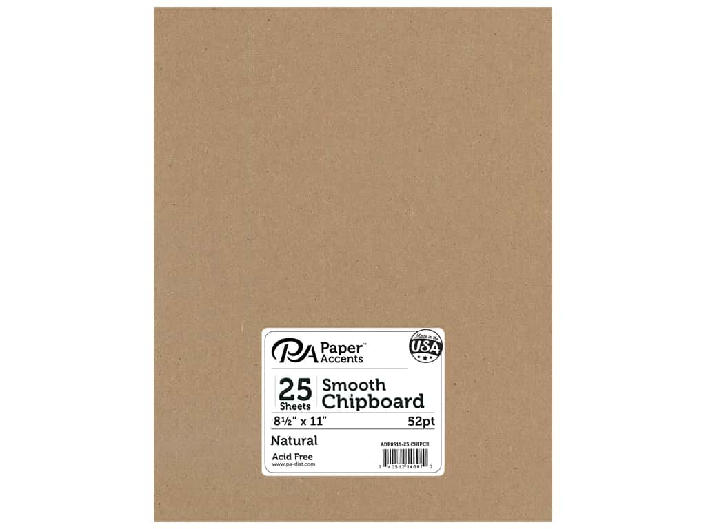 Paper Accents Chipboard 8 1/2 x 11 in. 52 pt. Extra Heavy Natural 25 pc.
