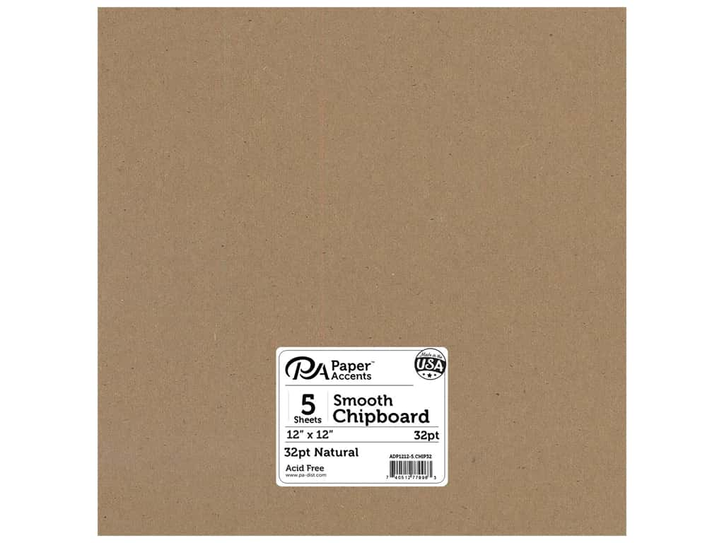 Paper Accents Chipboard 12 x 12 in. 32 pt. XL Heavy Natural 5 pc.