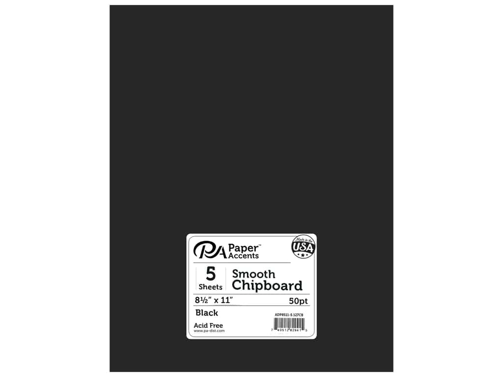 Paper Accents Chipboard 8 1/2 x 11 in. 50 pt. 1X Heavy Black 5 pc.