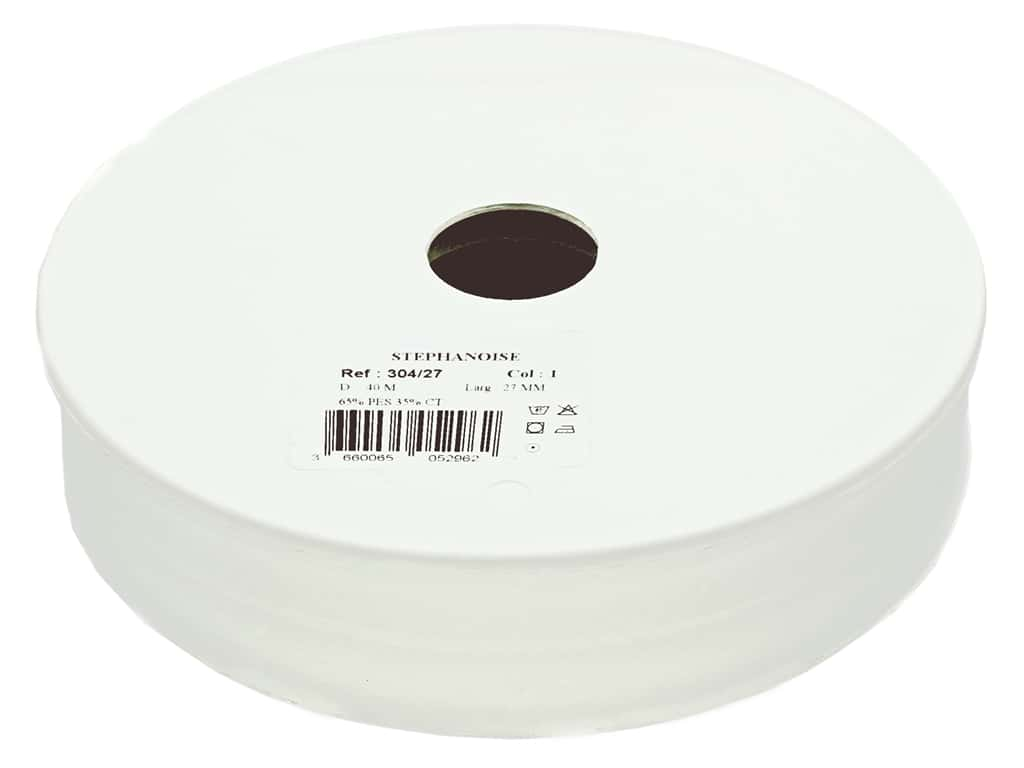 Stephanoise Poly/Cotton Bias Tape 27 mm White (44 yards)