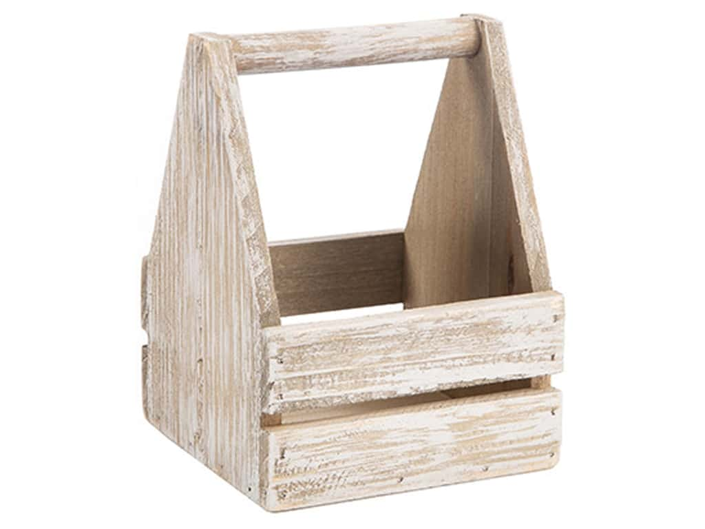 Darice Wood Basket 4.5 in. x 4.5 in. x 6.25 in. Whitewashed