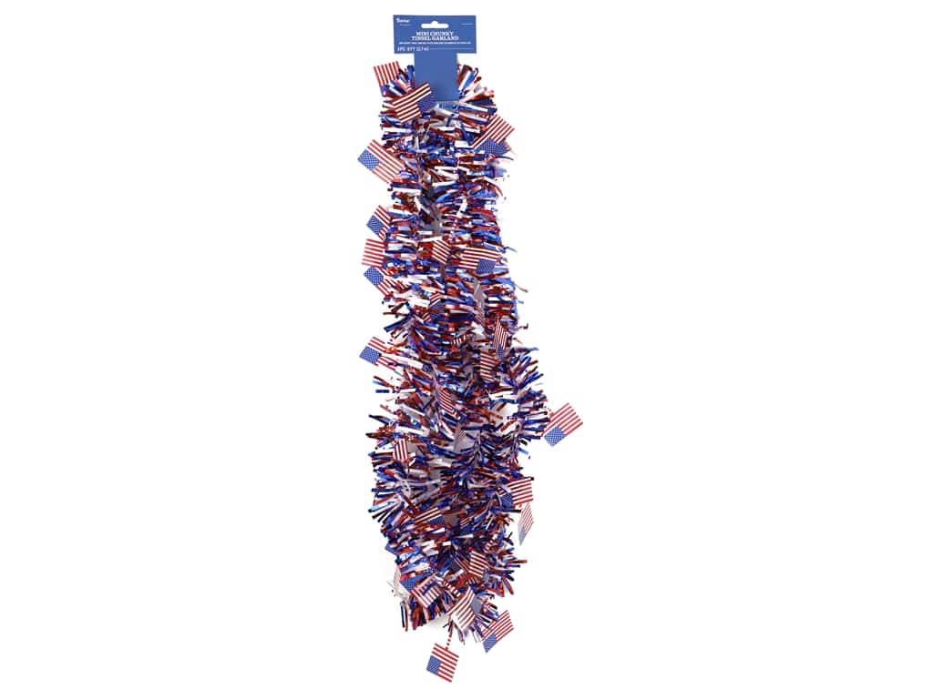 Darice Patriotic Tinsel Garland 5 in. x 9 ft.