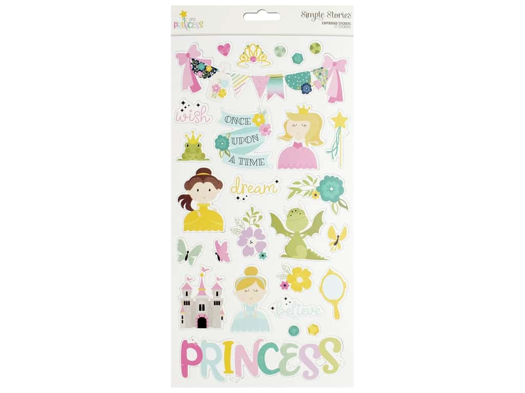 Simple Stories Collection Little Princess Sticker Chipboard 6 in. x 12 in.