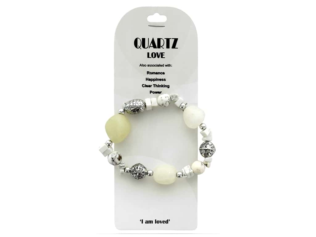 John Bead Semi Precious Stretch Bracelet White Howlite & Crystal Quartz 32
