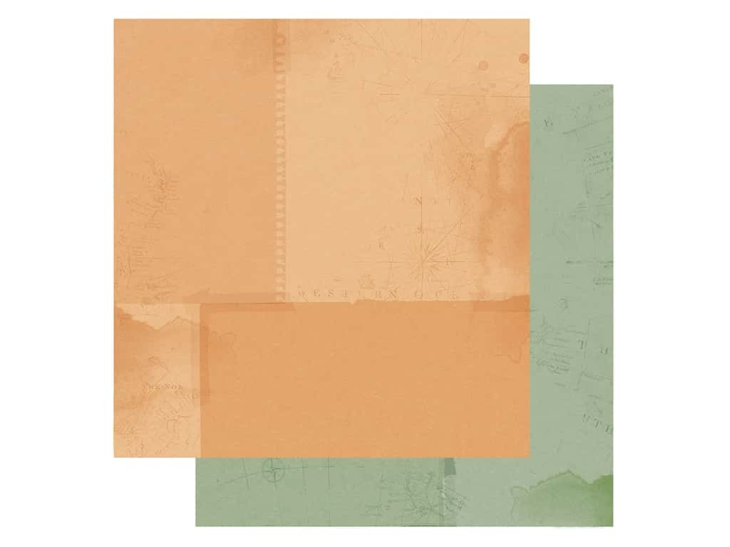 Simple Stories Collection Simple Vintage Traveler Paper 12 in. x 12 in. Rust/Green (25 pieces)