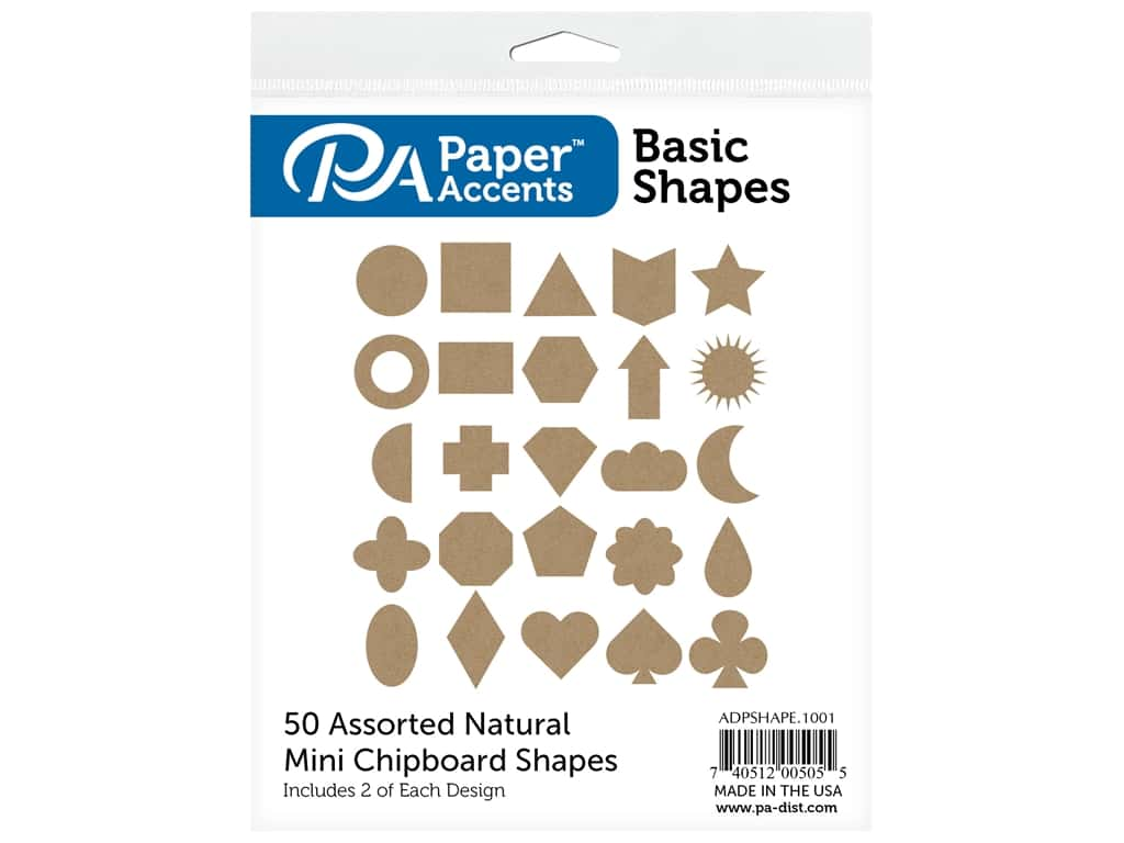 Paper Accents Chip Shape Assorted Basic 50 pc Natural