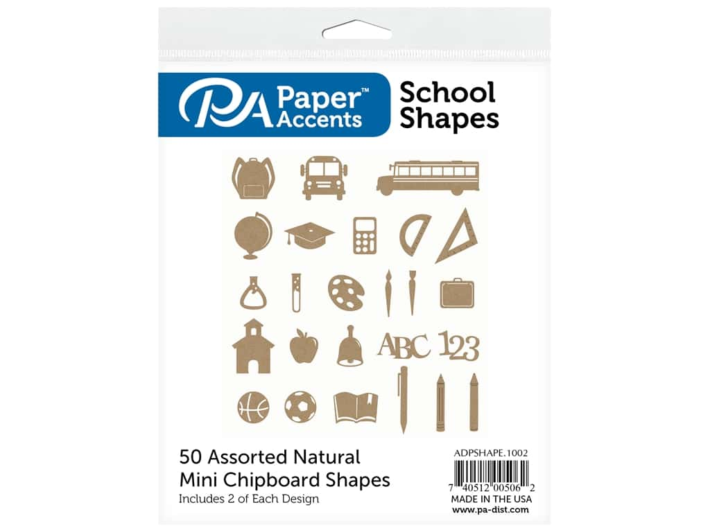 Paper Accents Chip Shape Assorted School 50 pc Natural