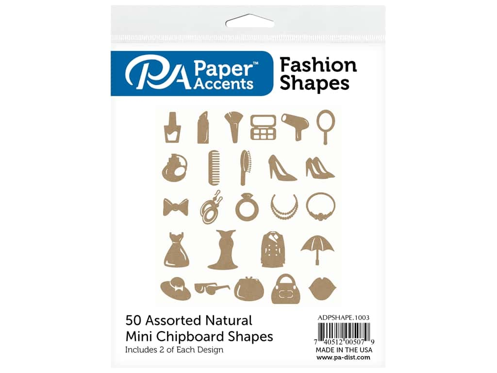 Paper Accents Chip Shape Assorted Fashion 50 pc Natural