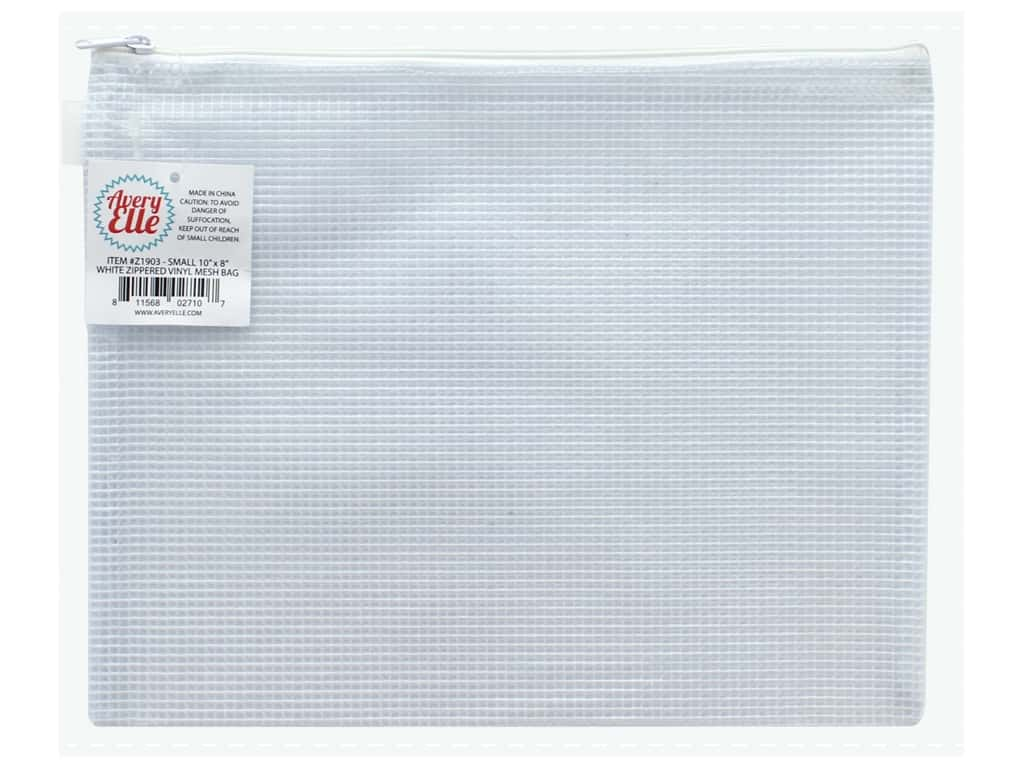 Avery Elle Zippered Vinyl Mesh Pouch Small White