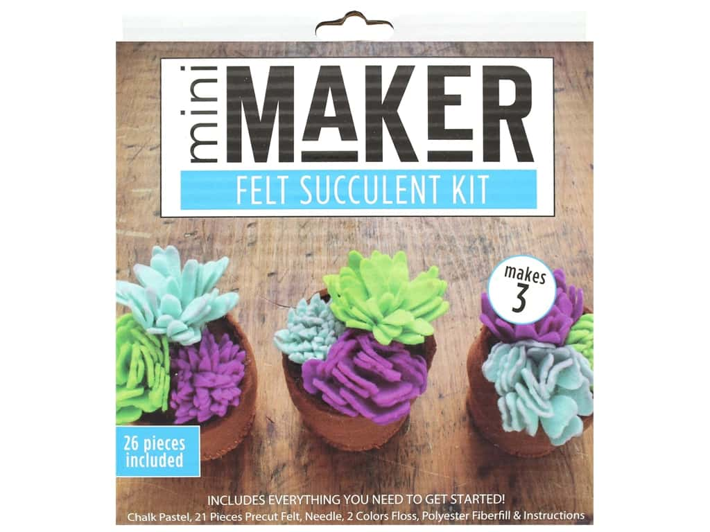 Leisure Arts Mini Maker Felt Succulent Kit - Blue