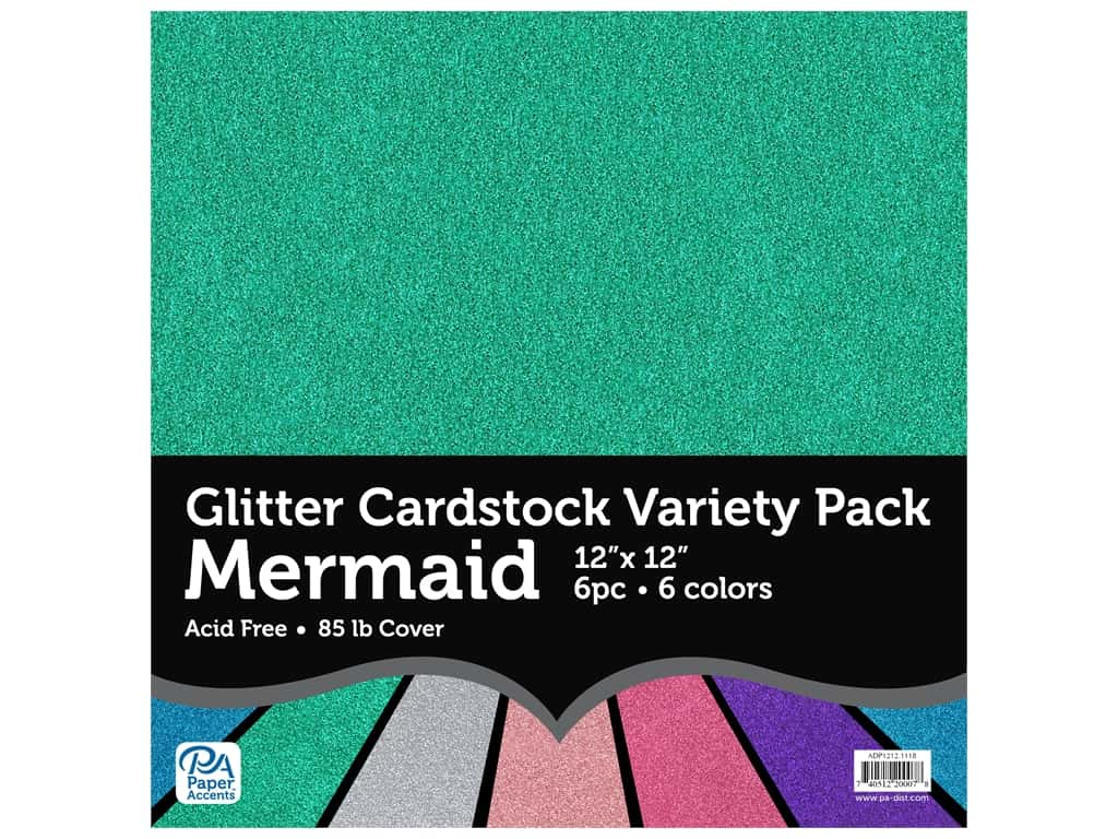 Paper Accents Glitter Cardstock Variety Pack 12 x 12 in. Mermaid 6 pc.
