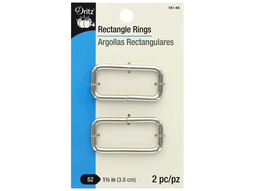 Dritz Rectangle Rings - 1 1/2 in. Nickel 2 pc.