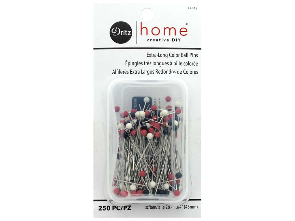 Dritz Home Pins Straight Color Ball Extra Long 250 pc