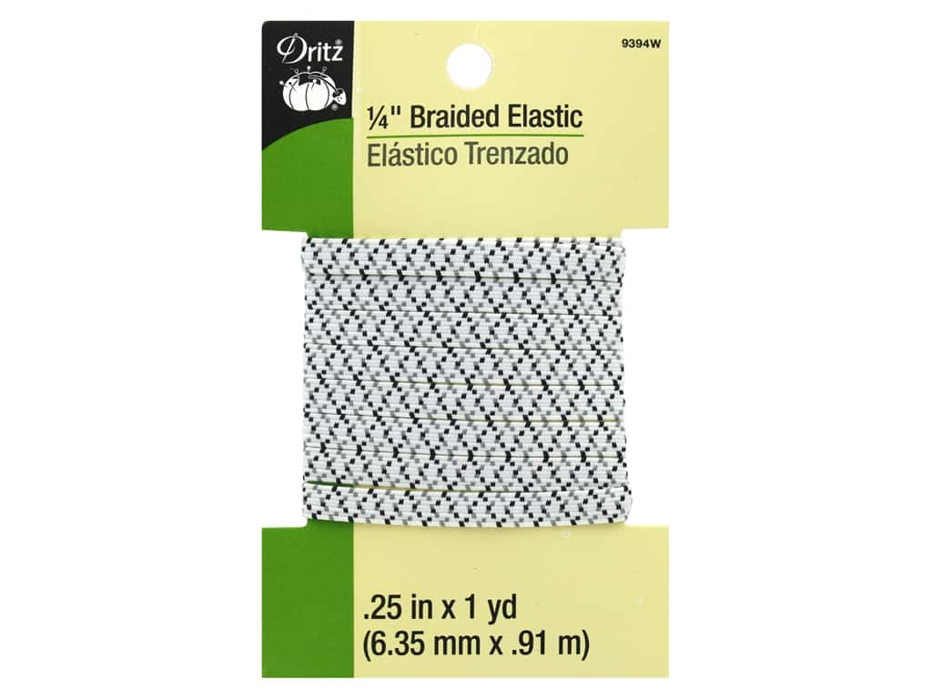 Dritz Braided Elastic 1/4 in. x 1 yd. Zigzag White Multi