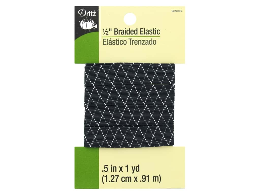Dritz Braided Elastic 1/2 in. x 1 yd. Zigzag Black Multi