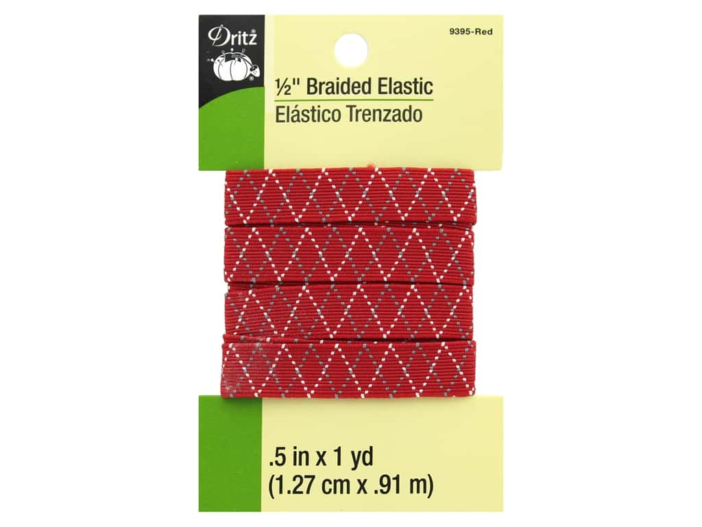 Dritz Braided Elastic 1/2 in. x 1 yd. Zigzag Red Multi