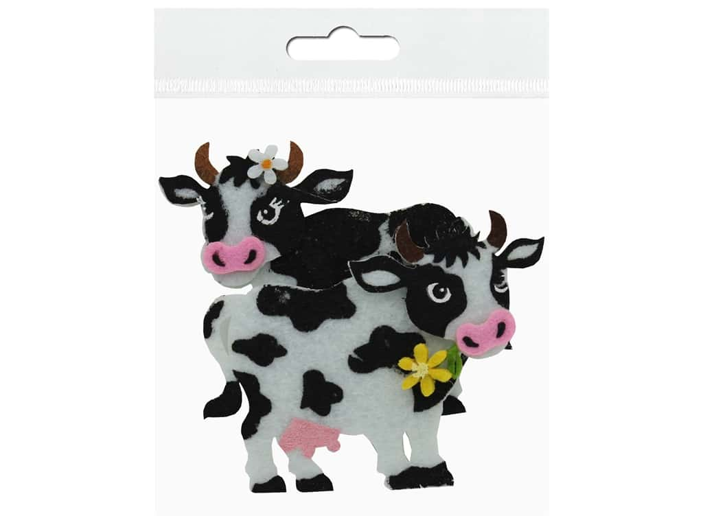 Sierra Pacific Decor Felt Animals Sticky Back Cow 2 pc (6 pieces)