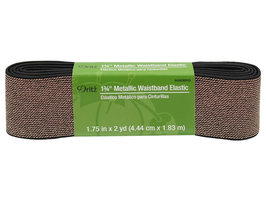 Dritz Metallic Waistband Elastic 1 3/4 in. x 2 yd. Black & Rose Gold