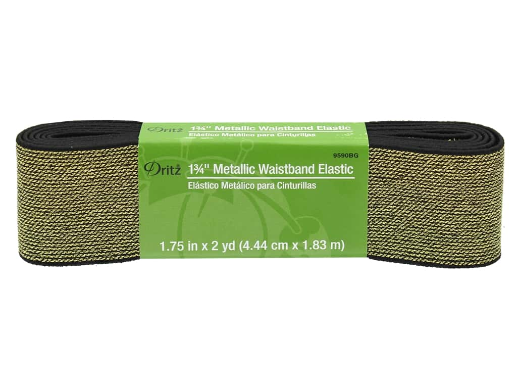 Dritz Metallic Waistband Elastic 1 3/4 in. x 2 yd. Black & Gold
