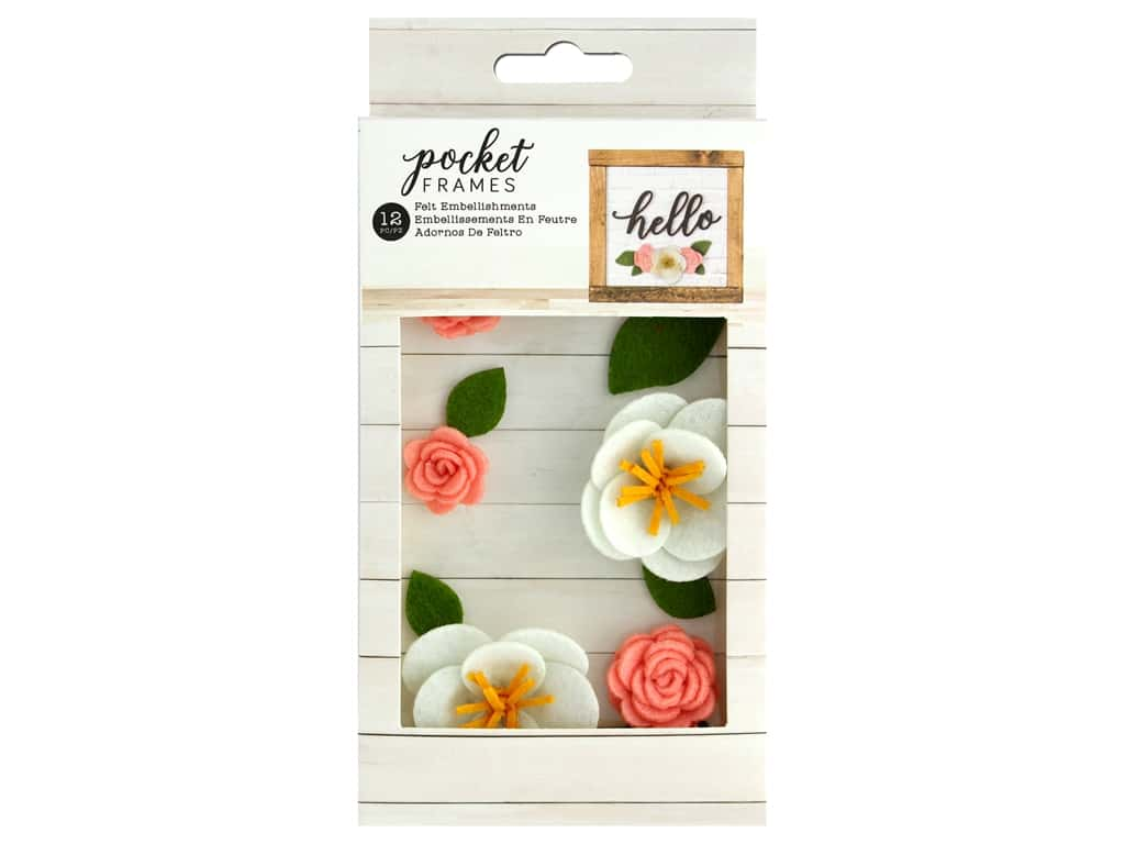 American Crafts Collection Details 2 Enjoy Pocket Frames Felt Flower 1